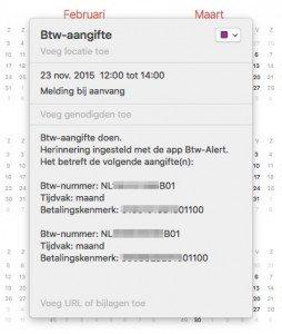 btw-alert app agenda melding